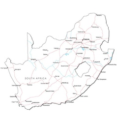 South Africa Black White Map vector image