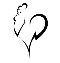 stylized cock vector image