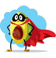 Superhero avocado super food cartoon vector