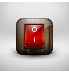 Switch with a shiny red button contains wood vector image