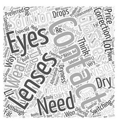 Switching To Contact Lenses Word Cloud Concept vector