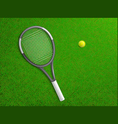 tennis racket ball on grass realistic vector image