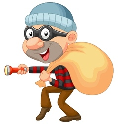 Thief cartoon with sack of money vector image