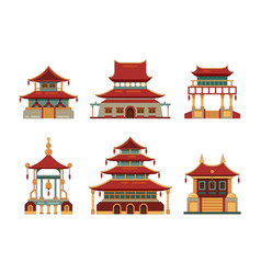 traditional buildings japan and china cultural vector image