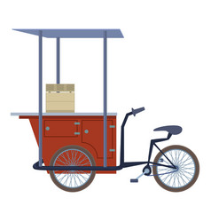 tricycle trade cart icon cartoon style vector image