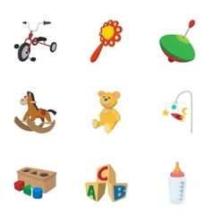 Types of toys icons set cartoon style vector