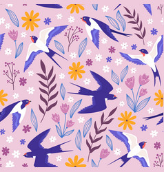 vintage seamless pattern with flying swallows vector image