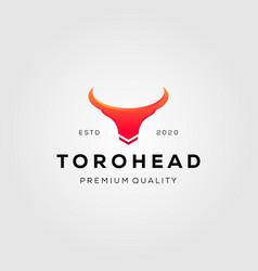 Vintage toro head bull logo designs vector