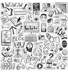 Web doodles set vector image