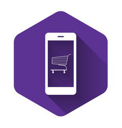 white online shopping concept shopping cart on vector image
