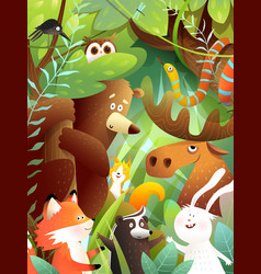 wild animals in forest cute greeting card vector image