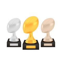 winner rugawards set gold silver bronze trophy vector image