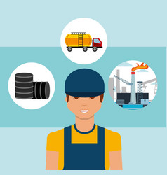 Worker barrels truck tanker and plant oil industry vector