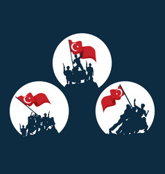 Zafer bayrami soldiers with flag icon set vector