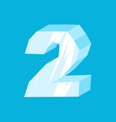 number 2 ice icicles font two frozen alphabet vector image