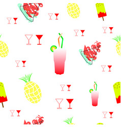 tileable texture with summer fruits and drinks vector image