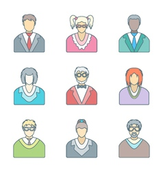 various color outline people in glasses icons set vector image vector image