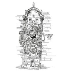 astronomical clock in prague vector image