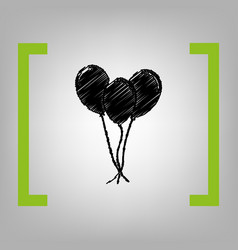 balloons set sign black scribble icon in vector image vector image