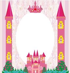 beautiful fairytale pink castle frame vector image