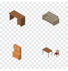 Isometric furniture set of chair couch table and vector