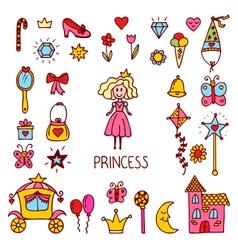 Little princess design elements Cute hand drawn vector image