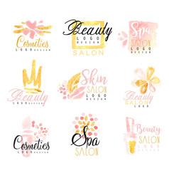 spa healthy beauty studio set for label design vector image