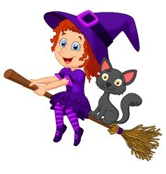 Cartoon young witch flying on her broom vector