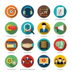 CRM Round Icons Set vector image vector image