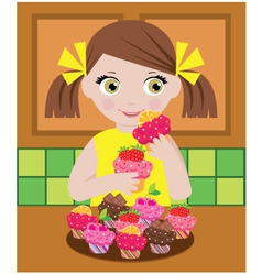 little girl in kitchen with cupcakes vector image vector image