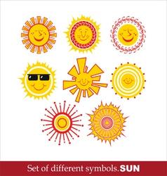 Set Cartoon Sun vector image