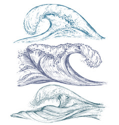 Set of hand drawn sea waves in sketch style vector