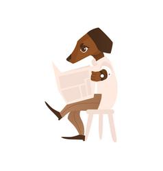 cartoon dog character reading newspaper vector image
