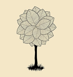 Floral tree silhouette vector image