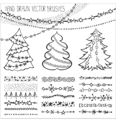 Holiday brusheschristmas doodles setblack vector