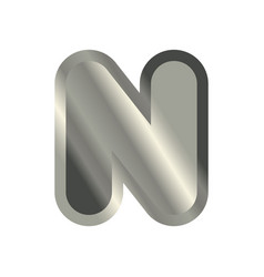 Letter n steel font metal alphabet sign iron abc vector