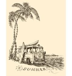 Surf van on the beach sketch vector image vector image