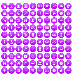 100 smuggling icons set purple vector