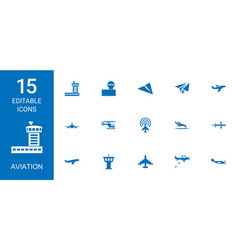 15 aviation icons vector