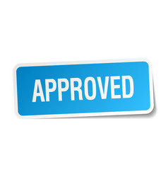 Approved blue square sticker isolated on white vector