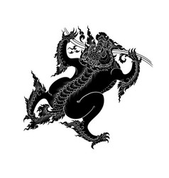 Asian art lion vector