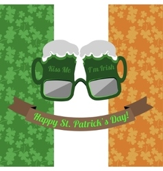 Beer glasses Kiss Me Im Irish for Saint Patricks vector
