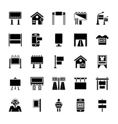 billboards glyph icons vector image