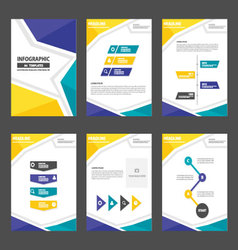 Blue yellow presentation templates Infographic set vector