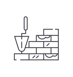 brick laying line icon concept brick laying vector image