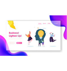 Business character creative idea landing page vector