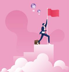 businessman holding a flag on top column vector image