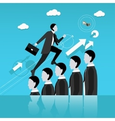Businessman step on other people head in way vector