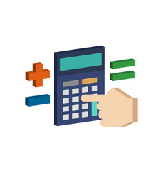 calculate on calculator symbol flat isometric vector image