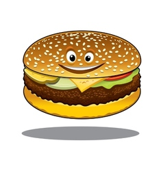 Cartoon cheeseburger with a happy smile vector image